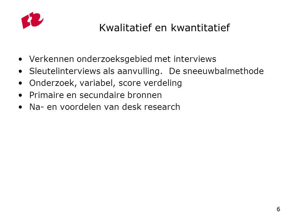 6 Kwalitatief en kwantitatief Verkennen onderzoeksgebied met interviews Sleutelinterviews als aanvulling. De sneeuwbalmethode Onderzoek, variabel, sco