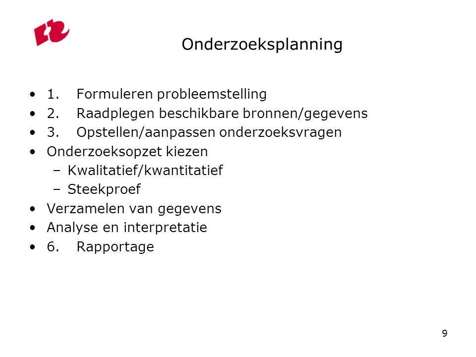 9 Onderzoeksplanning 1.Formuleren probleemstelling 2.Raadplegen beschikbare bronnen/gegevens 3.Opstellen/aanpassen onderzoeksvragen Onderzoeksopzet ki
