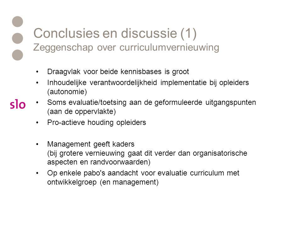 Conclusies en discussie (1) Zeggenschap over curriculumvernieuwing Draagvlak voor beide kennisbases is groot Inhoudelijke verantwoordelijkheid impleme