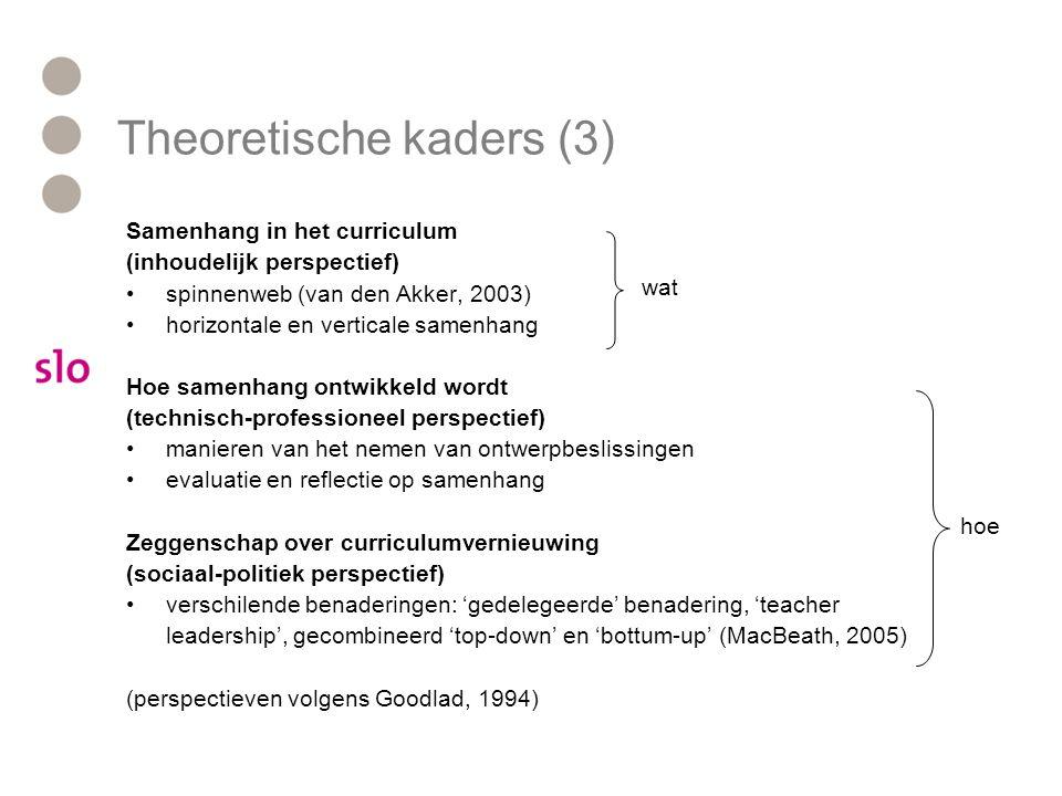 Samenhang in het curriculum (inhoudelijk perspectief) spinnenweb (van den Akker, 2003) horizontale en verticale samenhang Hoe samenhang ontwikkeld wor