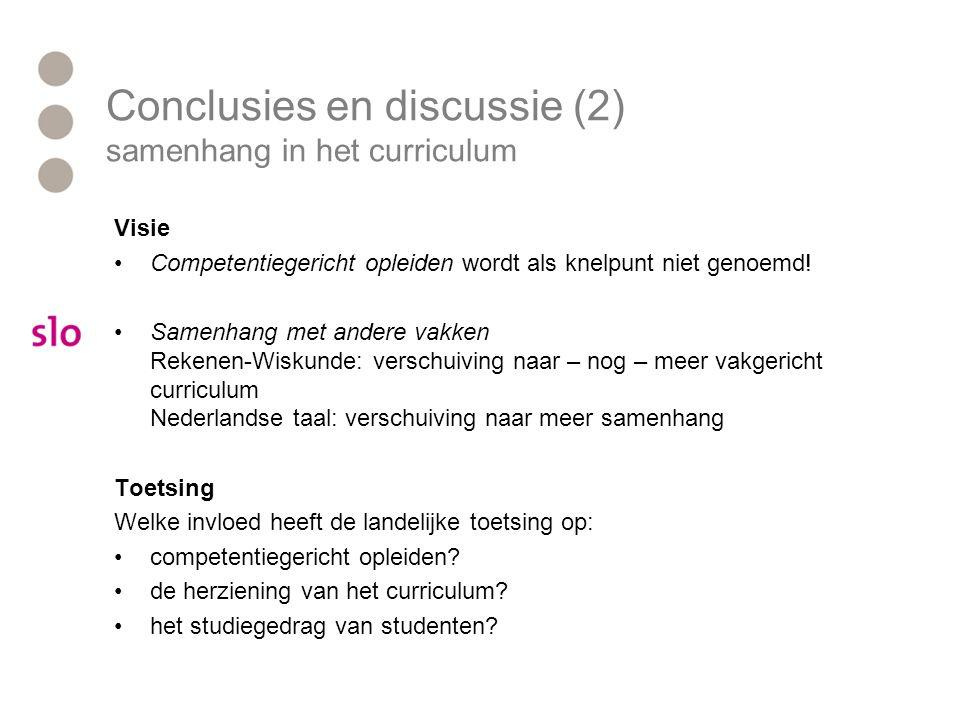 Conclusies en discussie (2) samenhang in het curriculum Visie Competentiegericht opleiden wordt als knelpunt niet genoemd! Samenhang met andere vakken