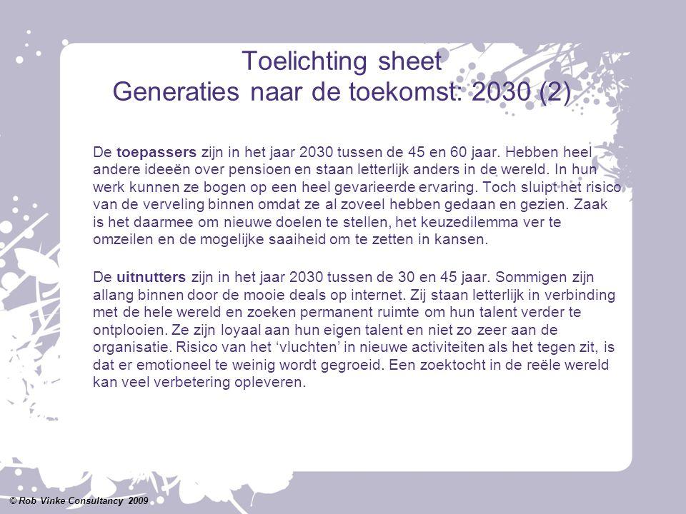 Toelichting sheet Generaties naar de toekomst: 2030 (2) De toepassers zijn in het jaar 2030 tussen de 45 en 60 jaar. Hebben heel andere ideeën over pe