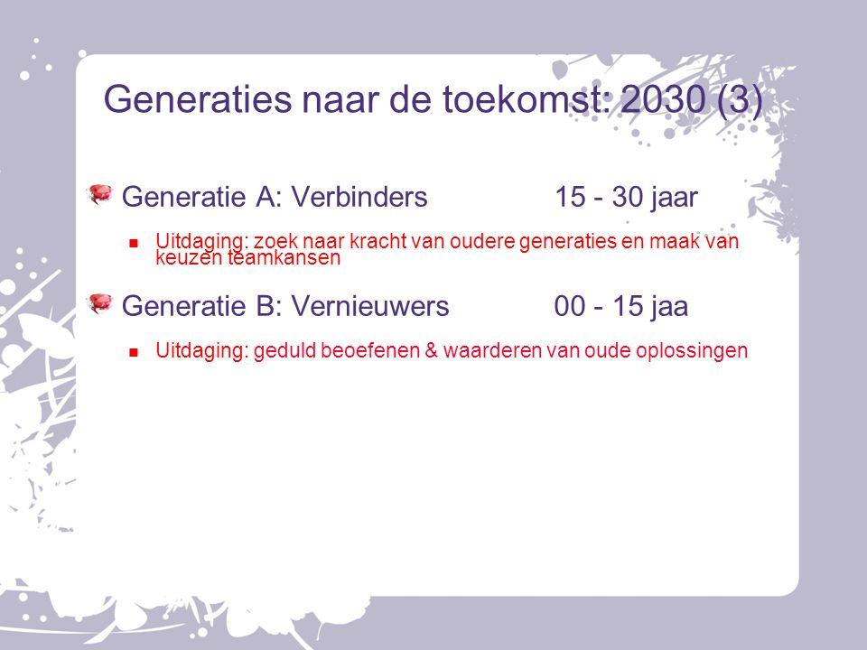 Generaties naar de toekomst: 2030 (3) Generatie A: Verbinders15 - 30 jaar Uitdaging: zoek naar kracht van oudere generaties en maak van keuzen teamkan