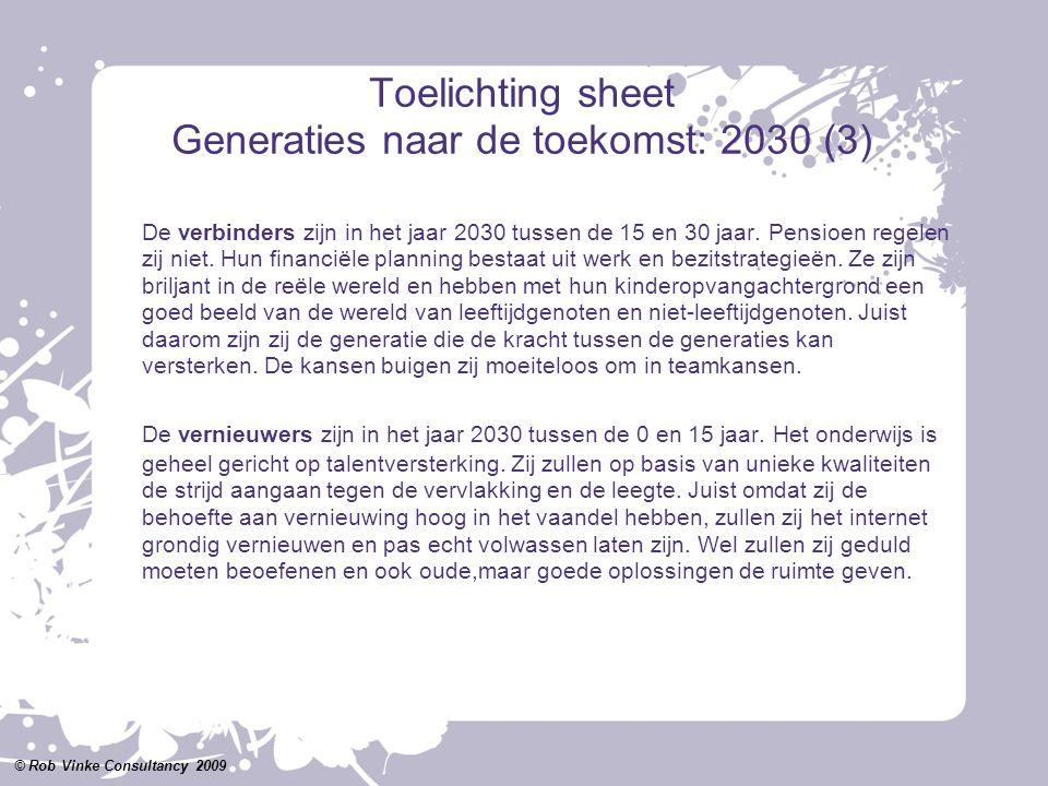 Toelichting sheet Generaties naar de toekomst: 2030 (3) De verbinders zijn in het jaar 2030 tussen de 15 en 30 jaar. Pensioen regelen zij niet. Hun fi