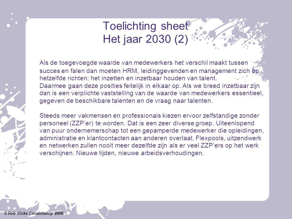 Toelichting sheet Het jaar 2030 (2) Als de toegevoegde waarde van medewerkers het verschil maakt tussen succes en falen dan moeten HRM, leidinggevende