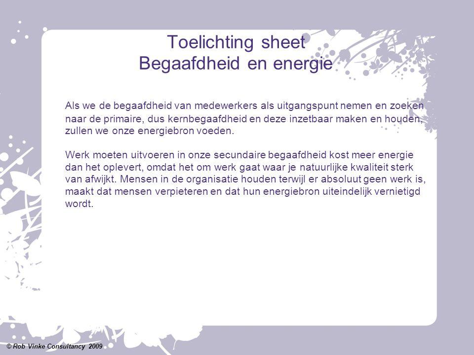 Toelichting sheet Begaafdheid en energie Als we de begaafdheid van medewerkers als uitgangspunt nemen en zoeken naar de primaire, dus kernbegaafdheid