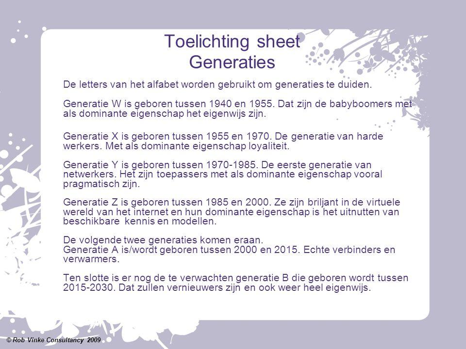 Toelichting sheet Generaties De letters van het alfabet worden gebruikt om generaties te duiden. Generatie W is geboren tussen 1940 en 1955. Dat zijn