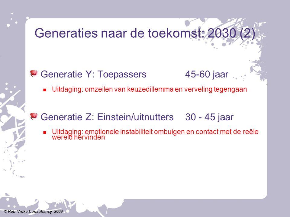 Generaties naar de toekomst: 2030 (2) Generatie Y: Toepassers45-60 jaar Uitdaging: omzeilen van keuzedillemma en verveling tegengaan Generatie Z: Eins
