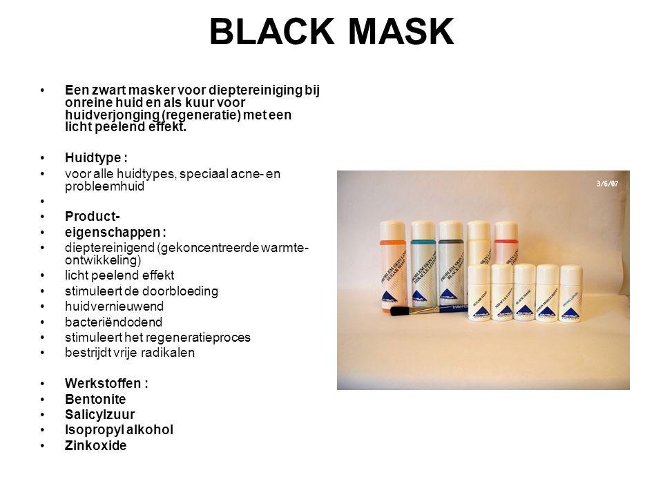 BLACK MASK Een zwart masker voor dieptereiniging bij onreine huid en als kuur voor huidverjonging (regeneratie) met een licht peelend effekt. Huidtype