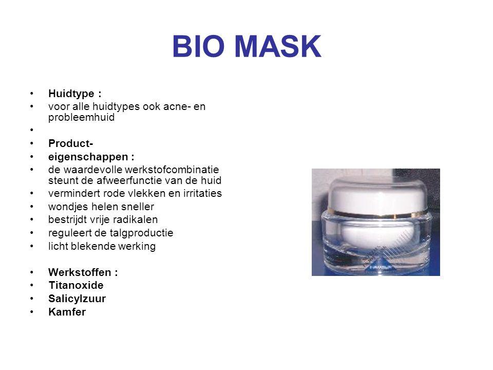 BIO MASK Huidtype : voor alle huidtypes ook acne- en probleemhuid Product- eigenschappen : de waardevolle werkstofcombinatie steunt de afweerfunctie v