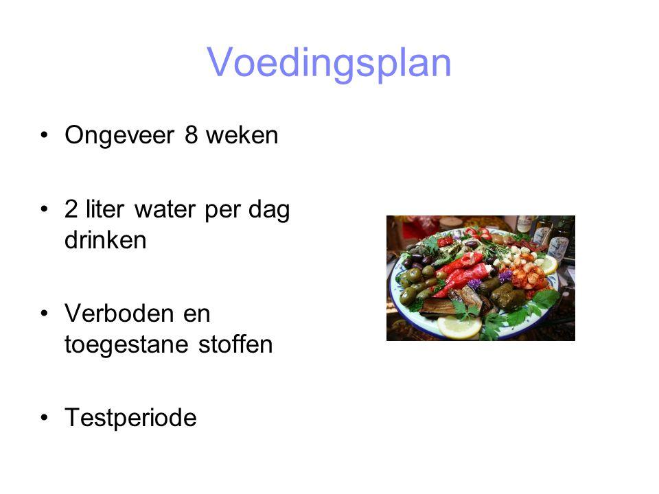 Voedingsplan Ongeveer 8 weken 2 liter water per dag drinken Verboden en toegestane stoffen Testperiode