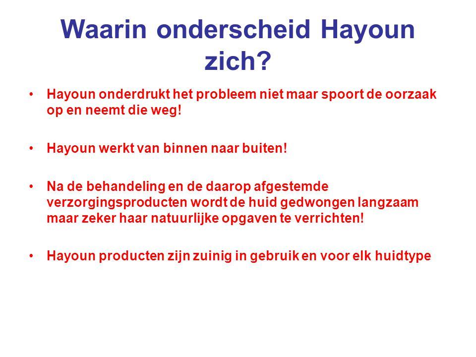 Waarin onderscheid Hayoun zich? Hayoun onderdrukt het probleem niet maar spoort de oorzaak op en neemt die weg! Hayoun werkt van binnen naar buiten! N