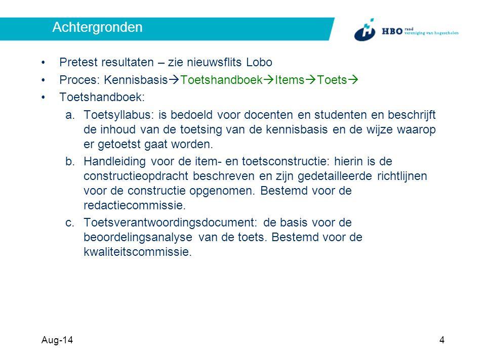 Per (sub)domein per leerdoel itemdatabase opbouwen 8/1/2014 5 Kennisbasis Toetsmatrijs Handboek Leerdoelen ItemsTestenRevisi e ok Rapportage updaten Item database