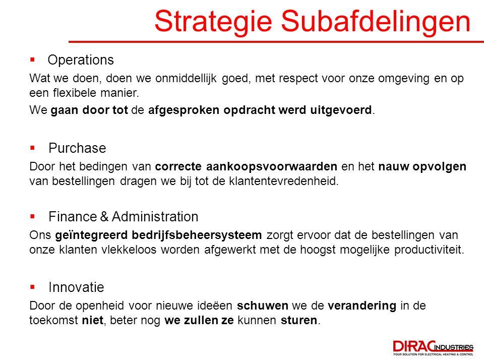 Strategie Subafdelingen  Operations Wat we doen, doen we onmiddellijk goed, met respect voor onze omgeving en op een flexibele manier. We gaan door t
