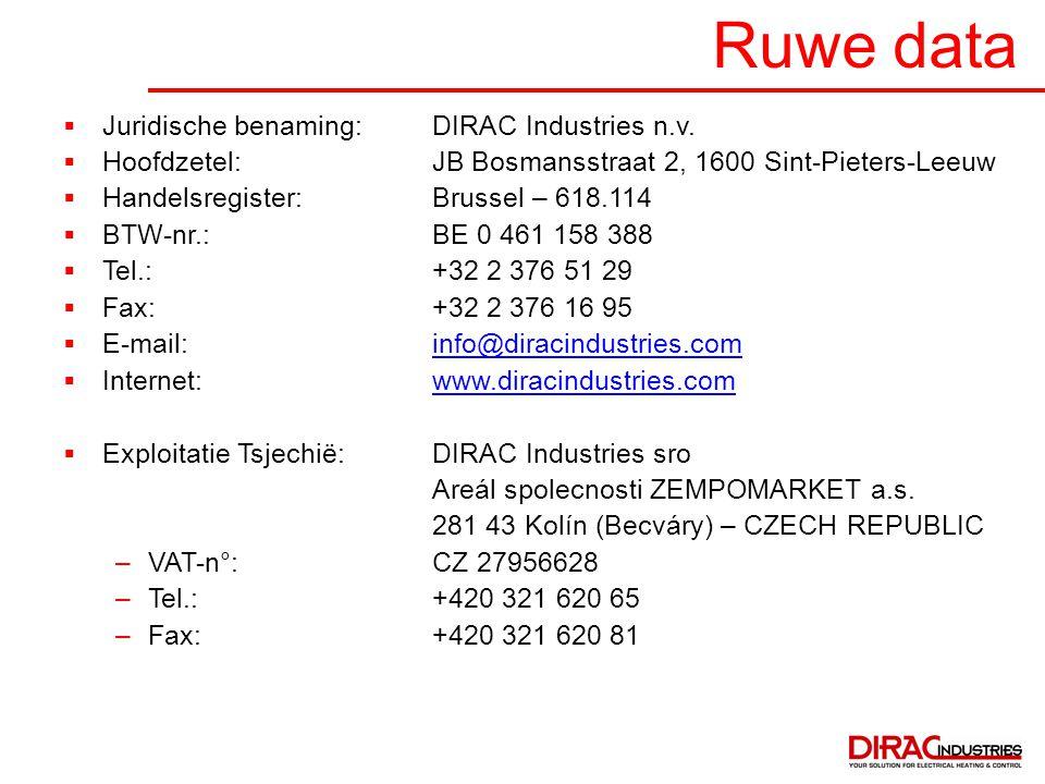 Ruwe data  Juridische benaming:DIRAC Industries n.v.  Hoofdzetel:JB Bosmansstraat 2, 1600 Sint-Pieters-Leeuw  Handelsregister:Brussel – 618.114  B