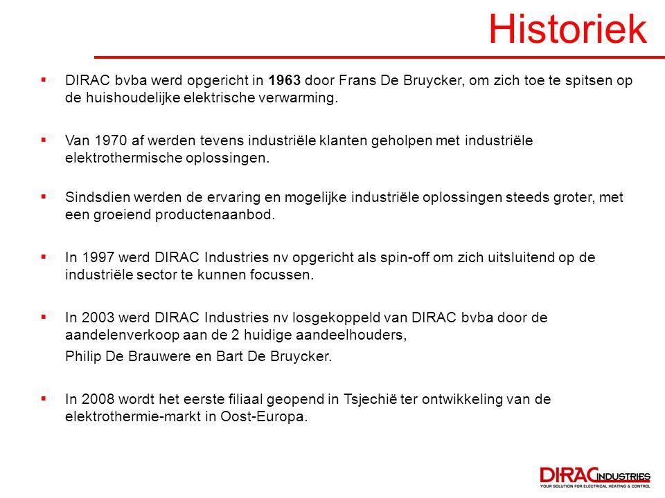 Historiek  DIRAC bvba werd opgericht in 1963 door Frans De Bruycker, om zich toe te spitsen op de huishoudelijke elektrische verwarming.  Van 1970 a