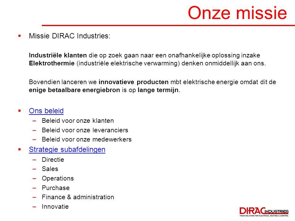 Onze missie  Missie DIRAC Industries: Industriële klanten die op zoek gaan naar een onafhankelijke oplossing inzake Elektrothermie (industriële elekt