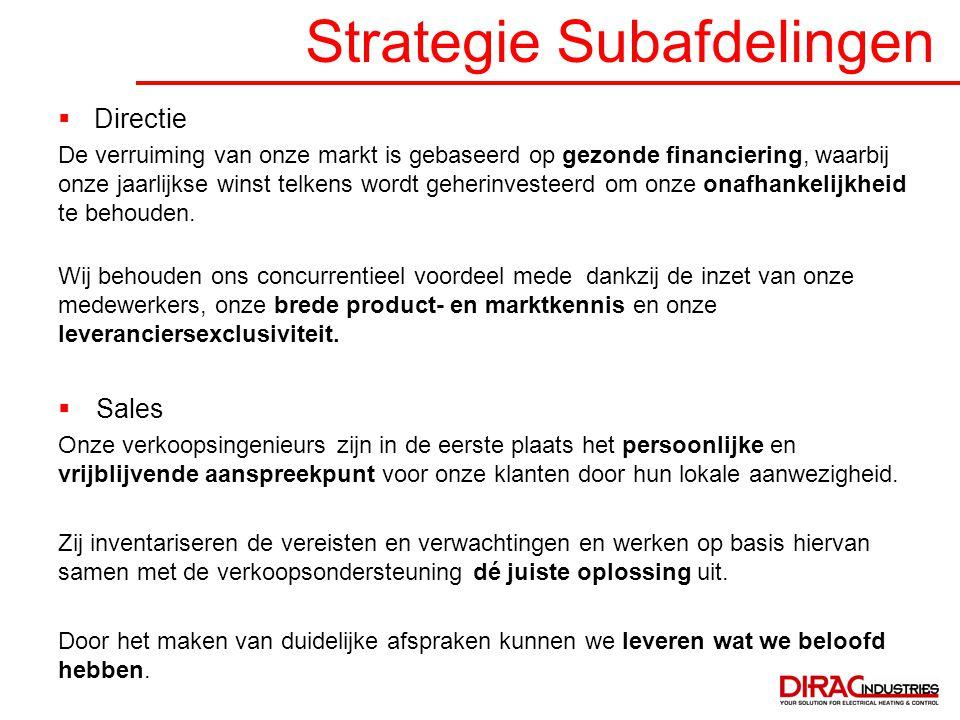 Strategie Subafdelingen  Directie De verruiming van onze markt is gebaseerd op gezonde financiering, waarbij onze jaarlijkse winst telkens wordt gehe