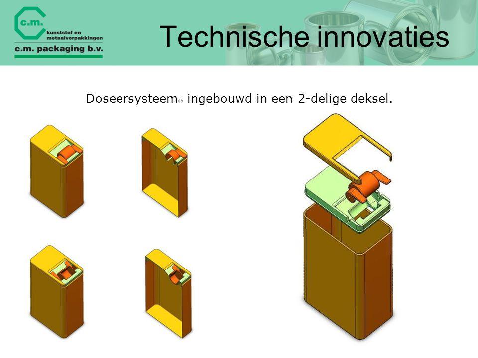 Technische innovaties Doseersysteem ® ingebouwd in een 2-delige deksel.