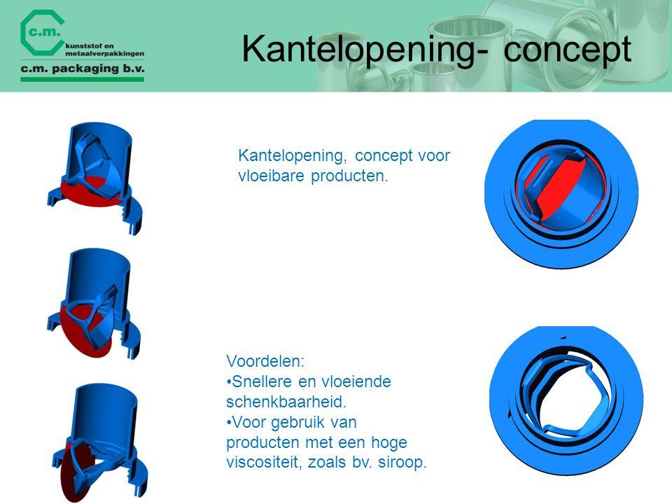 Kantelopening- concept Kantelopening, concept voor vloeibare producten. Voordelen: Snellere en vloeiende schenkbaarheid. Voor gebruik van producten me