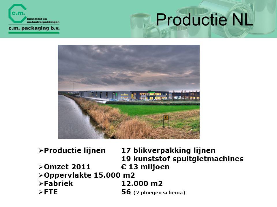 Productie NL  Productie lijnen17 blikverpakking lijnen 19 kunststof spuitgietmachines  Omzet 2011 € 13 miljoen  Oppervlakte15.000 m2  Fabriek12.00