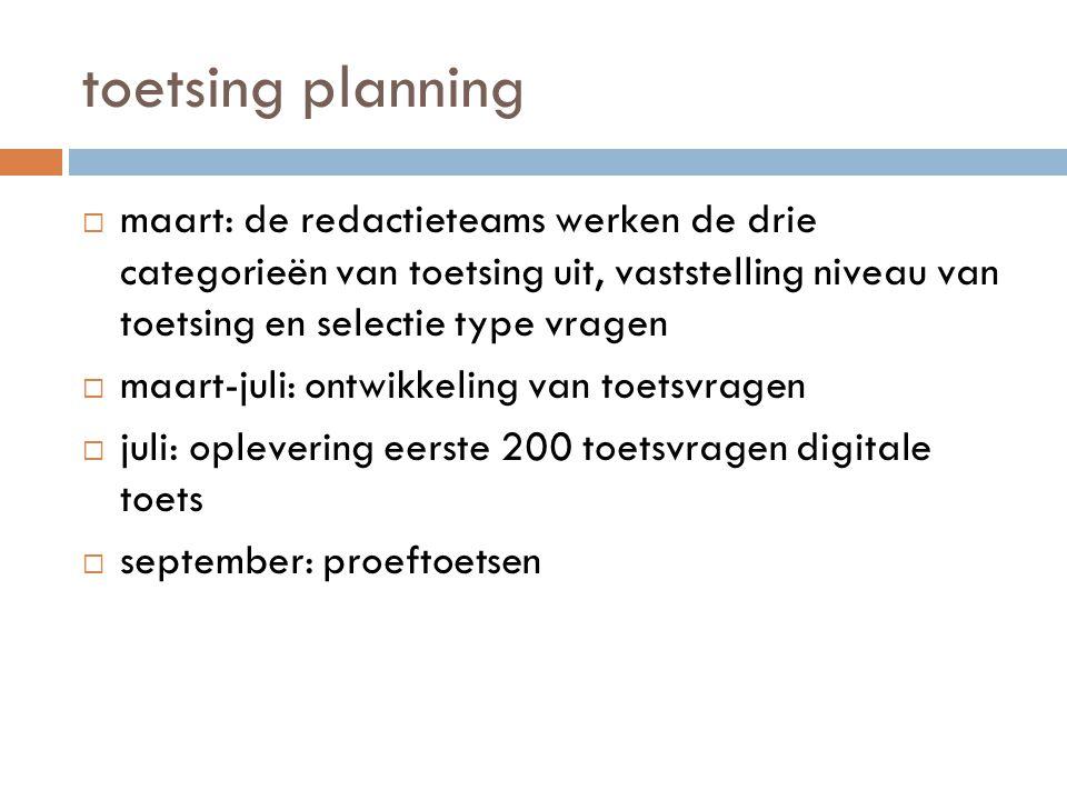 toetsing planning  maart: de redactieteams werken de drie categorieën van toetsing uit, vaststelling niveau van toetsing en selectie type vragen  ma