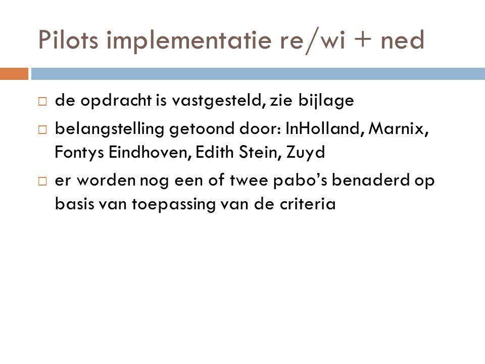 Pilots implementatie re/wi + ned  de opdracht is vastgesteld, zie bijlage  belangstelling getoond door: InHolland, Marnix, Fontys Eindhoven, Edith S