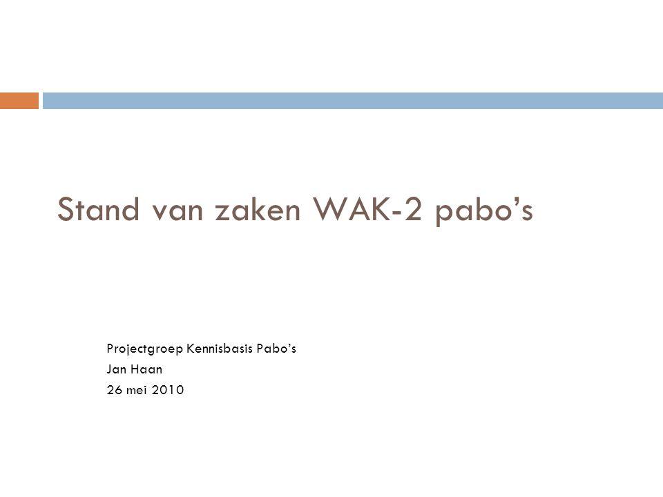 Stand van zaken WAK-2 pabo's Projectgroep Kennisbasis Pabo's Jan Haan 26 mei 2010
