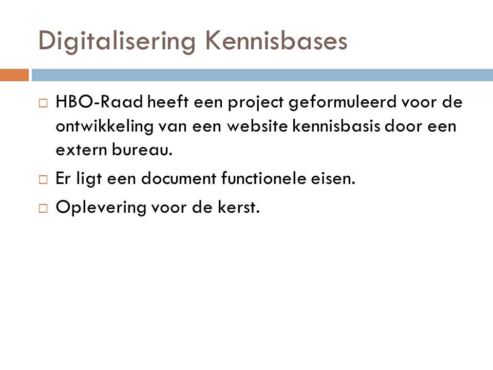 Digitalisering Kennisbases  HBO-Raad heeft een project geformuleerd voor de ontwikkeling van een website kennisbasis door een extern bureau.  Er lig