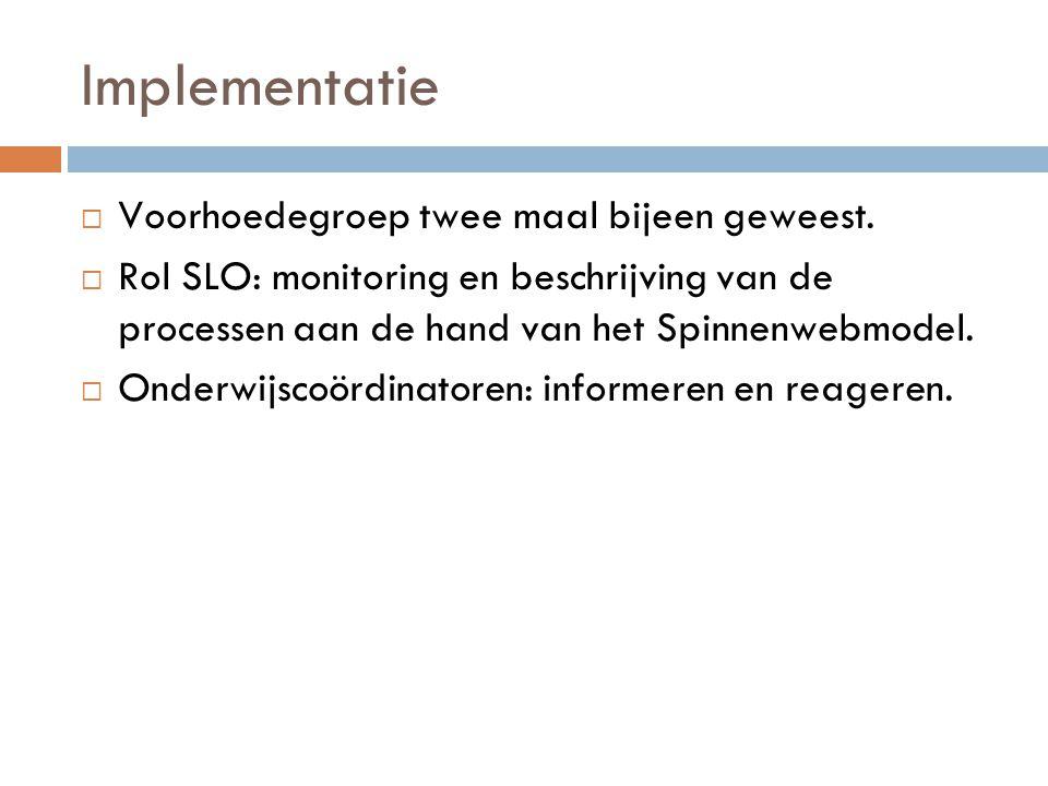 Implementatie  Voorhoedegroep twee maal bijeen geweest.  Rol SLO: monitoring en beschrijving van de processen aan de hand van het Spinnenwebmodel. 
