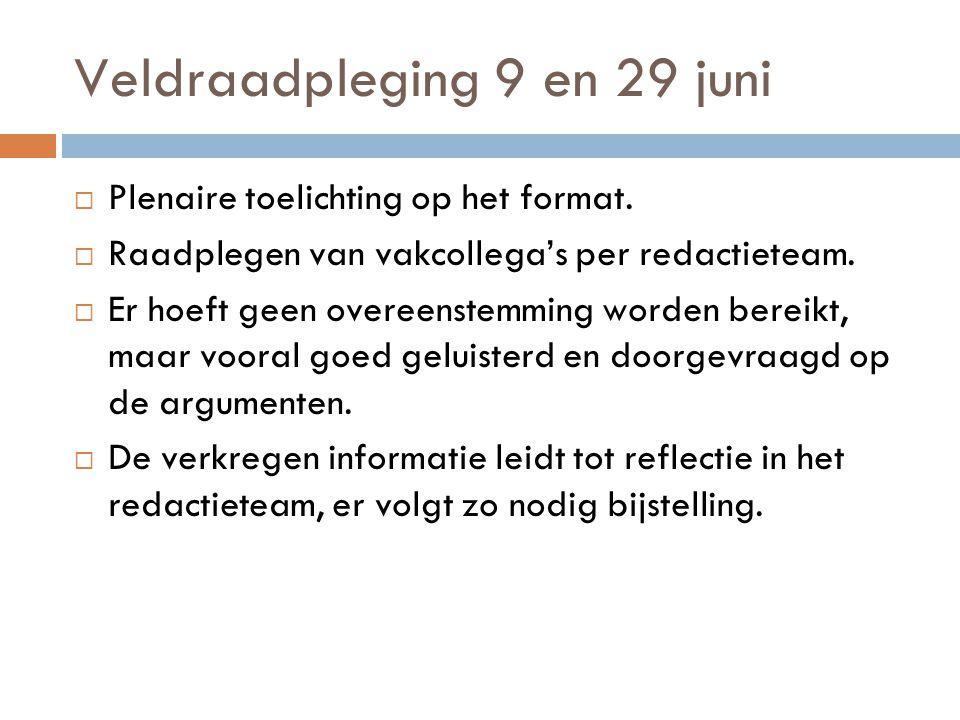 Veldraadpleging 9 en 29 juni  Plenaire toelichting op het format.  Raadplegen van vakcollega's per redactieteam.  Er hoeft geen overeenstemming wor