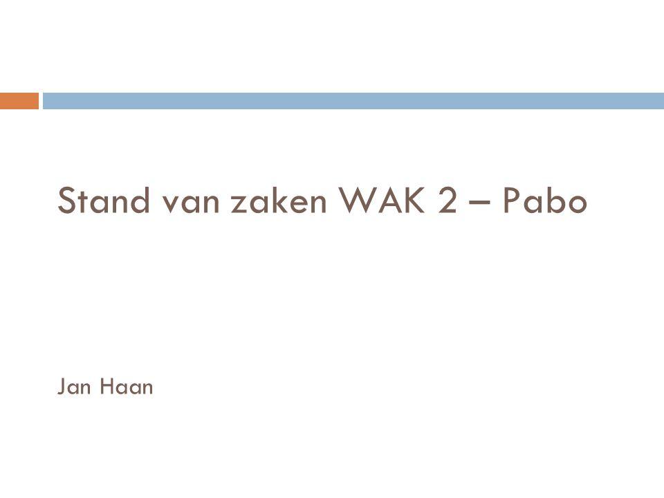 Stand van zaken WAK 2 – Pabo Jan Haan