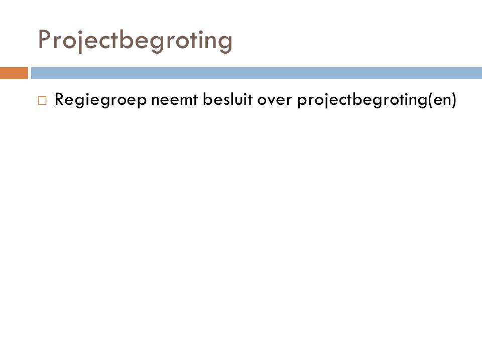 Projectbegroting  Regiegroep neemt besluit over projectbegroting(en)