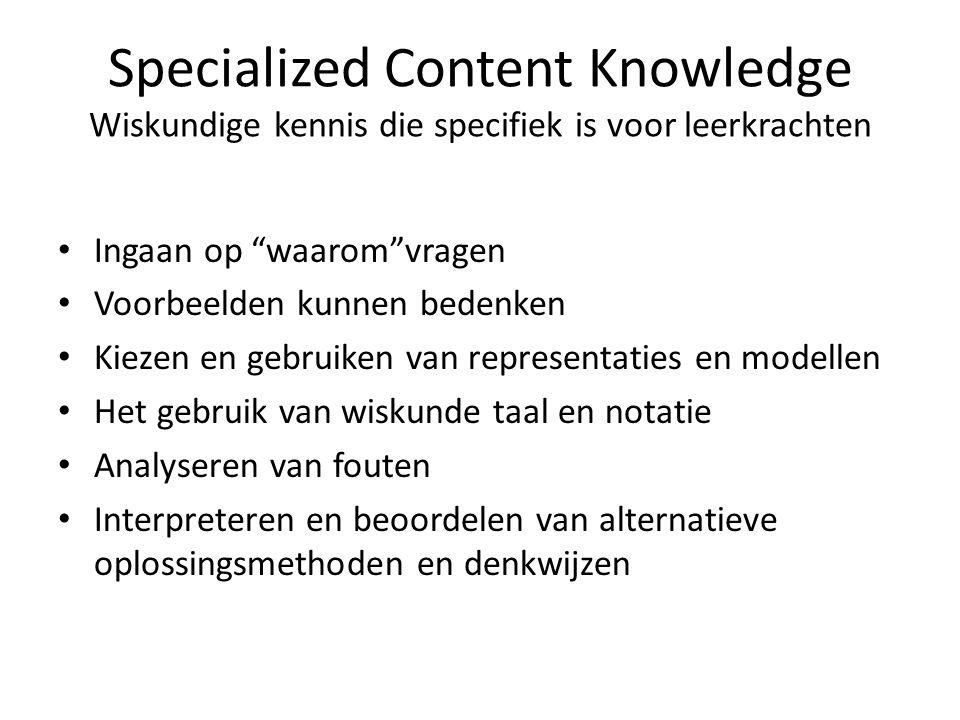 """Specialized Content Knowledge Wiskundige kennis die specifiek is voor leerkrachten Ingaan op """"waarom""""vragen Voorbeelden kunnen bedenken Kiezen en gebr"""
