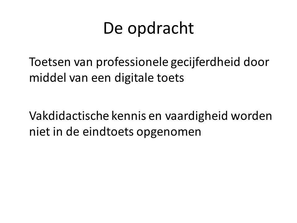 De opdracht Toetsen van professionele gecijferdheid door middel van een digitale toets Vakdidactische kennis en vaardigheid worden niet in de eindtoet