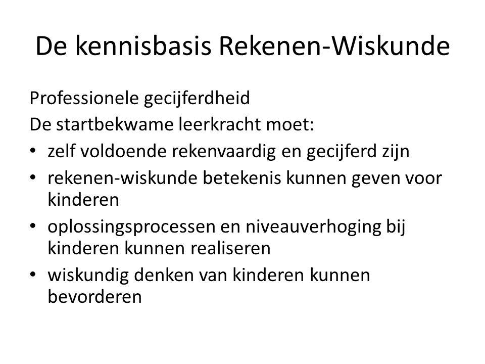 De kennisbasis Rekenen-Wiskunde Professionele gecijferdheid De startbekwame leerkracht moet: zelf voldoende rekenvaardig en gecijferd zijn rekenen-wis