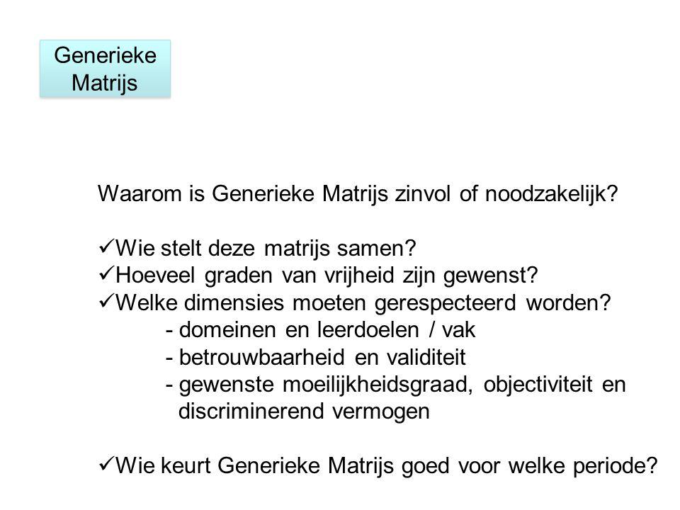 Generieke Matrijs Waarom is Generieke Matrijs zinvol of noodzakelijk.