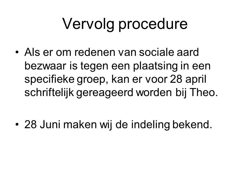 Vervolg procedure Als er om redenen van sociale aard bezwaar is tegen een plaatsing in een specifieke groep, kan er voor 28 april schriftelijk gereageerd worden bij Theo.