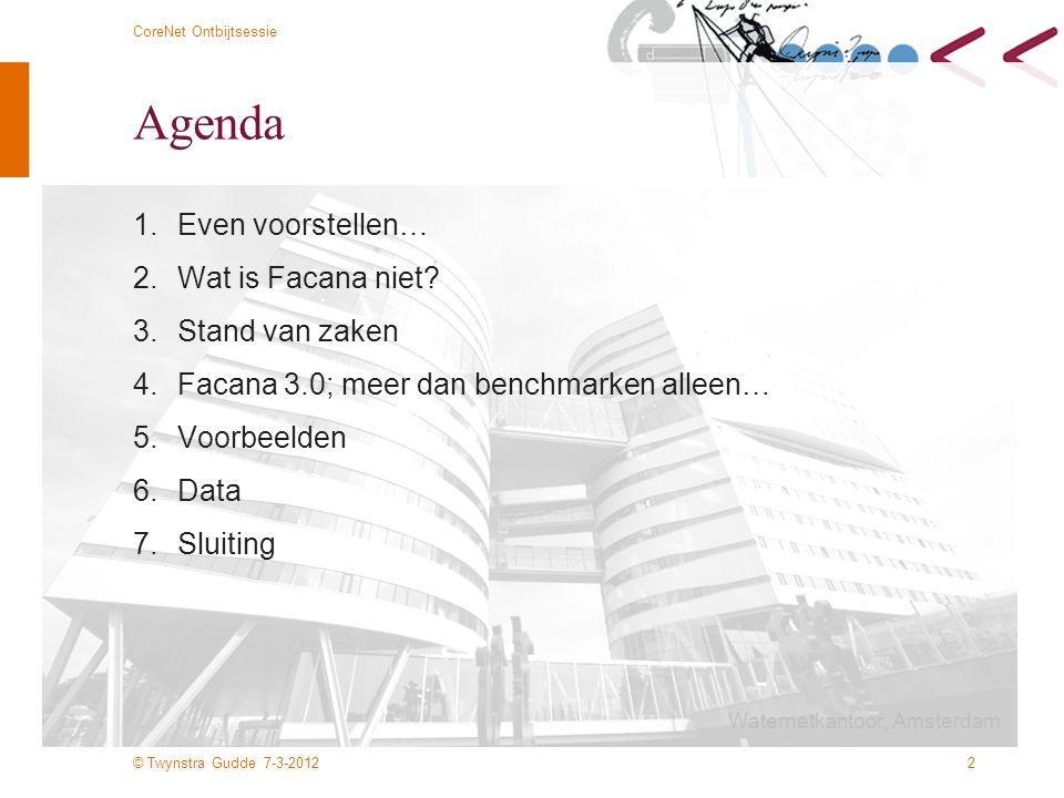 © Twynstra Gudde 7-3-2012 CoreNet Ontbijtsessie 2 Agenda 1.Even voorstellen… 2.Wat is Facana niet? 3.Stand van zaken 4.Facana 3.0; meer dan benchmarke