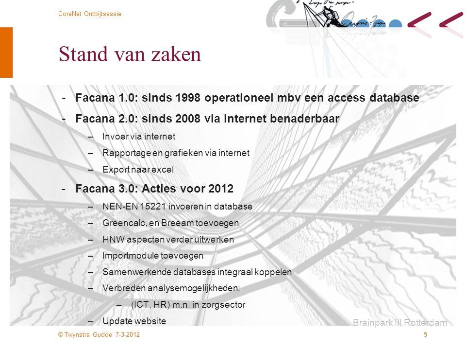 © Twynstra Gudde 7-3-2012 CoreNet Ontbijtsessie 5 Stand van zaken - Facana 1.0: sinds 1998 operationeel mbv een access database - Facana 2.0: sinds 20