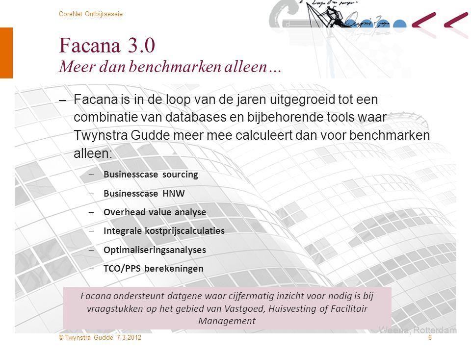 © Twynstra Gudde 7-3-2012 CoreNet Ontbijtsessie 7 Facana 3.0 Een samenspel gebaseerd op NEN normatiek Facana Benchmark 1:1 Benchmark via internet Data opbouw: Nen 2748 Nen 2745 CEN (nieuw: 2012) Nen 2580 WPL, Headcount, fte totaal WPL, headcount, fte inhuizige organisatie onderdelen (nieuw 2012) Locatie Primair proces Kwaliteit services Klanttevredenheid FTE fm en vg organisaties Greencalc, Breeam (nieuw: 2012) Statistische controle TCO/PPS zorg Publieke organisaties Private organisaties Businesscase sourcing zorg Publieke organisaties Private organisaties Overhead value analyse Portfolio Optimaliseringsanalyse