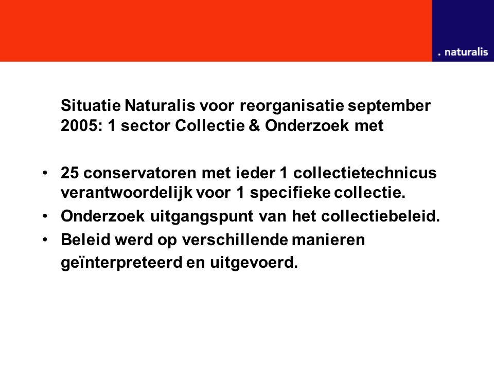 Situatie Naturalis voor reorganisatie september 2005: 1 sector Collectie & Onderzoek met 25 conservatoren met ieder 1 collectietechnicus verantwoordelijk voor 1 specifieke collectie.