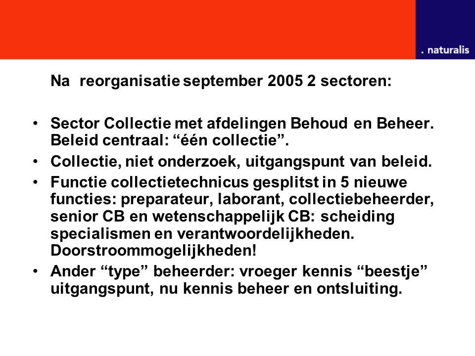 """Na reorganisatie september 2005 2 sectoren: Sector Collectie met afdelingen Behoud en Beheer. Beleid centraal: """"één collectie"""". Collectie, niet onderz"""