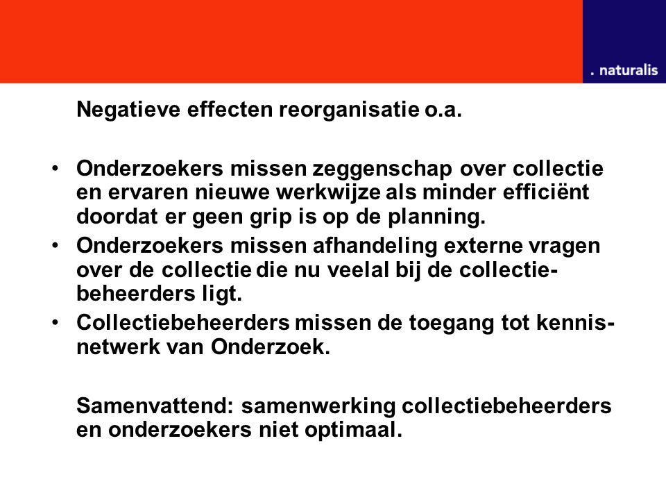 Negatieve effecten reorganisatie o.a. Onderzoekers missen zeggenschap over collectie en ervaren nieuwe werkwijze als minder efficiënt doordat er geen