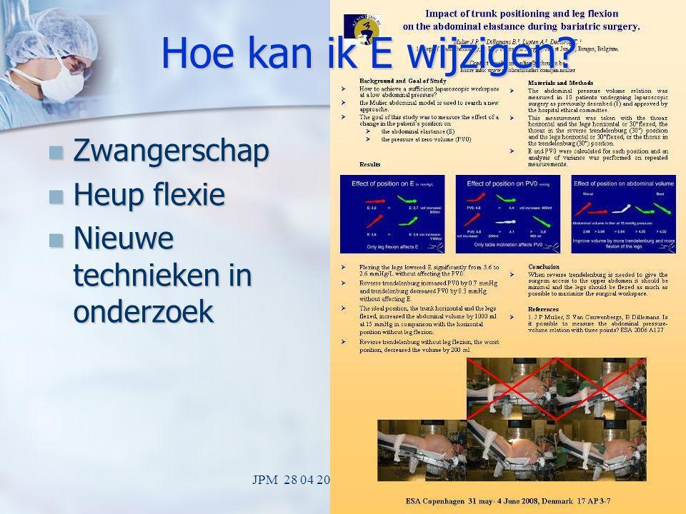 JPM 28 04 2009 LOK Mechelen30 Hoe kan ik PV0 wijzigen? Spierrelaxatie Spierrelaxatie Inhalatie anesthesie 2 MAC Inhalatie anesthesie 2 MAC Tafel incli