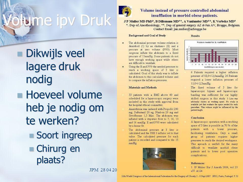 JPM 28 04 2009 LOK Mechelen35 Altijd voldoende werkvolume? Garantie nog niet mogelijk Garantie nog niet mogelijk kies druk om bepaald volume te halen