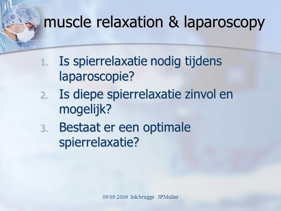 09 09 2009 lok brugge JPMulier muscle relaxation & laparoscopy 1. Is spierrelaxatie nodig tijdens laparoscopie? 2. Is diepe spierrelaxatie zinvol en m