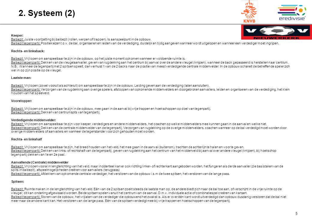 5 2.Systeem (2) Keeper: Balbezit: Juiste voortzetting bij balbezit (rollen, werpen of trappen).