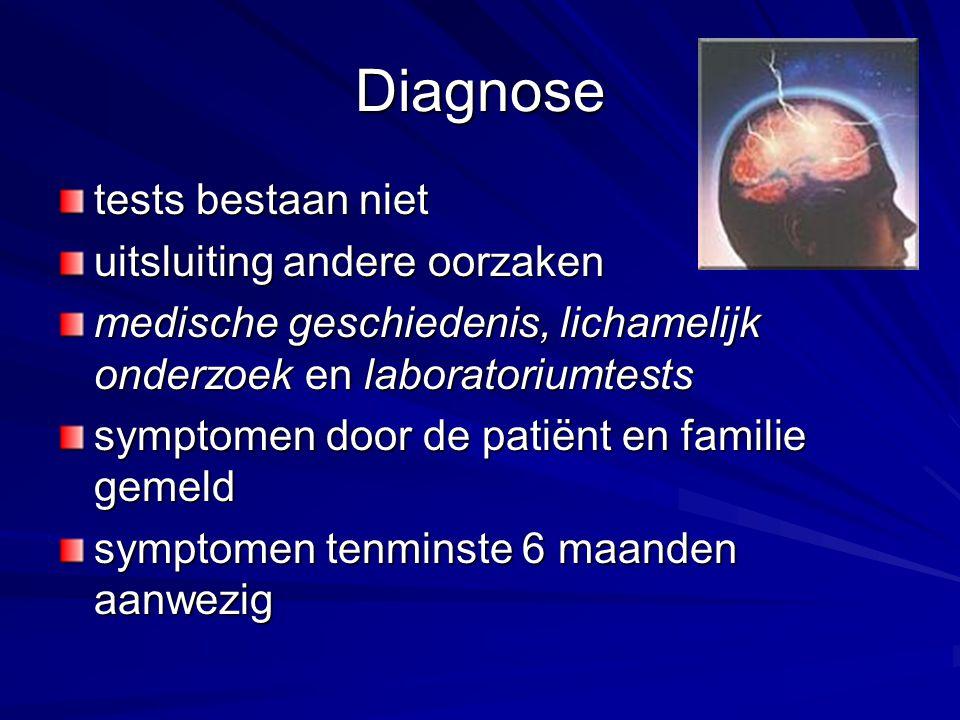 Diagnose tests bestaan niet uitsluiting andere oorzaken medische geschiedenis, lichamelijk onderzoek en laboratoriumtests symptomen door de patiënt en