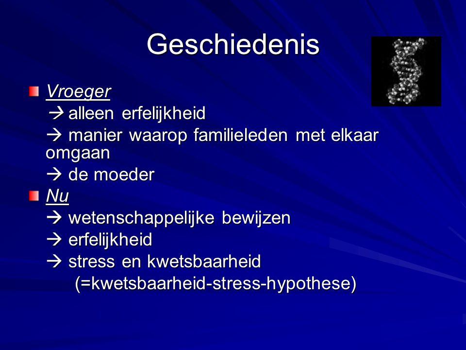 Oorzaken samenspel van factoren biologische factoren verhoogde gevoeligheid voor stress psychosociale factoren